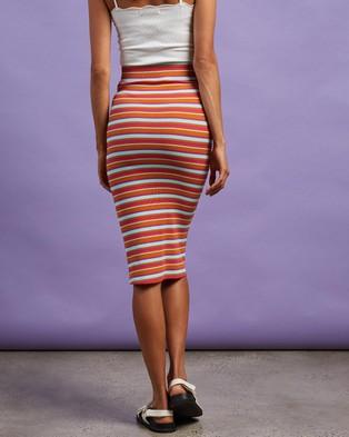 Cools Club Rib Midi Skirt - Pencil skirts (Barcelona Stripe)