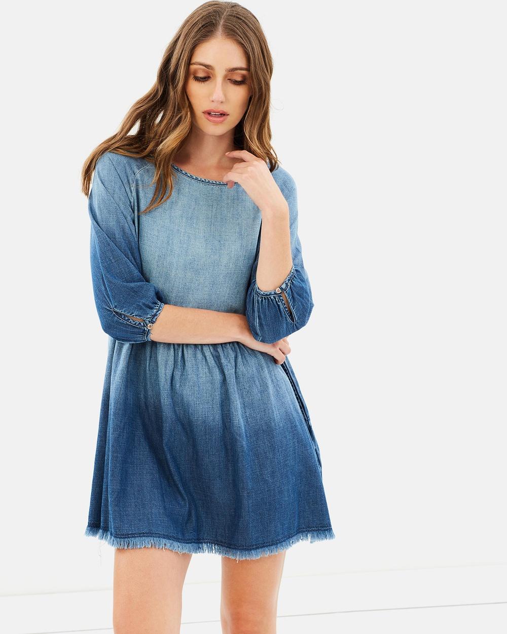 ONLY Sonia 3 4 Sleeve Denim Dress Dresses Light Blue Denim Sonia 3-4 Sleeve Denim Dress