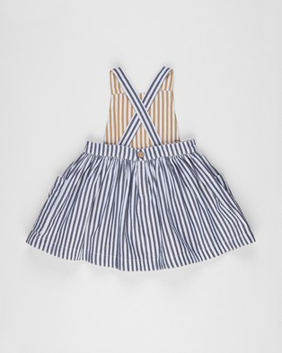 Huxbaby Stripe Reversible Pinafore   Kids - Dresses (Reversible Navy & Mustard Stripe)