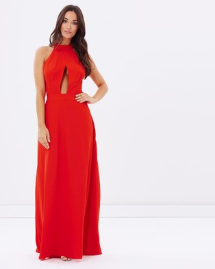Honey and Beau – Palms Halter Maxi Dress Red
