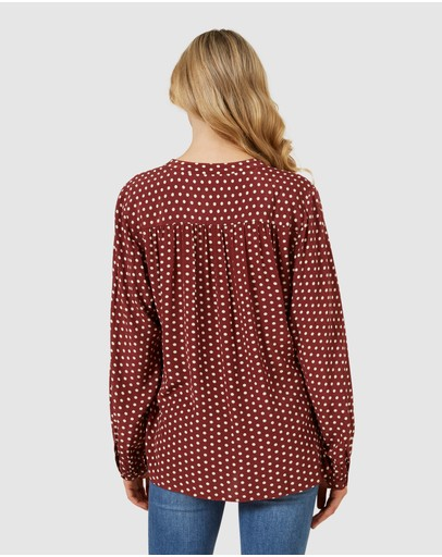 French Connection Spot Long Sleeve Top Rust/white