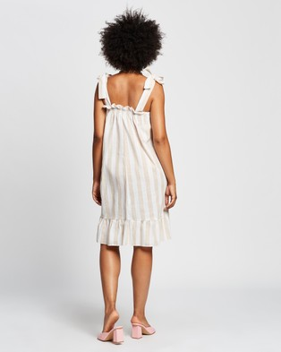 REVERSE Stripe Midi Dress - Dresses (Beige)