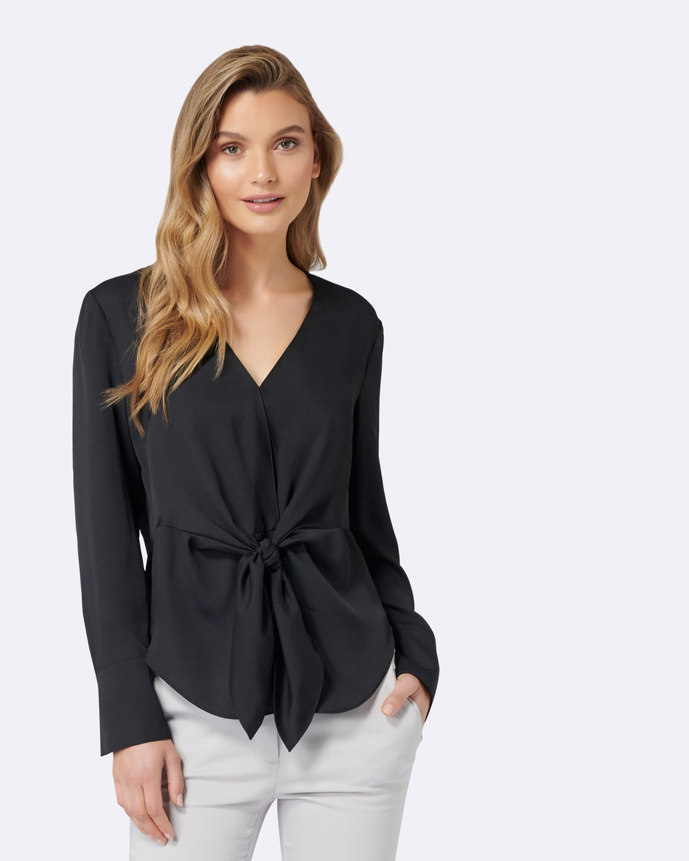 Forever New Donna Tie Front Blouse Tops Black Donna Tie Front Blouse