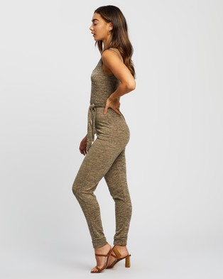 Missguided Scoop Tie Waist Lounge Jumpsuit - Jumpsuits & Playsuits (Stone)