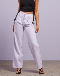 Dazie - The Wanderer Pleated Wide Leg Jeans