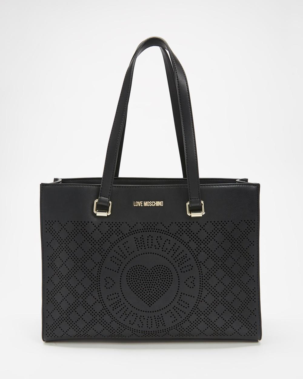 LOVE MOSCHINO PU Tote Bag Bags Nero & Grigio
