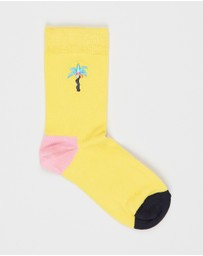 Happy Socks - Confetti Palm Embroidery Socks - Kids