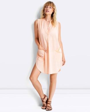 Seafolly – Sleeveless Boyfriend Beach Shirt – Swimwear Peach Melba