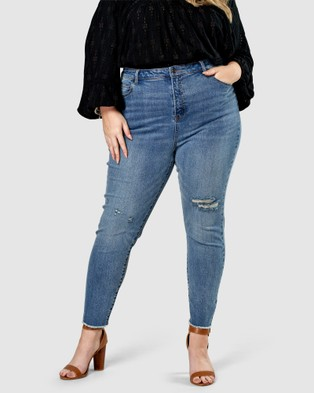 The Poetic Gypsy - Earth Laughs Skinny Jeans - High-Waisted (Blue) Earth Laughs Skinny Jeans