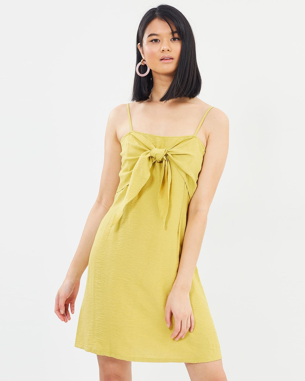 Otto Mode Prism Tie Dress Dresses Mustard Prism Tie Dress
