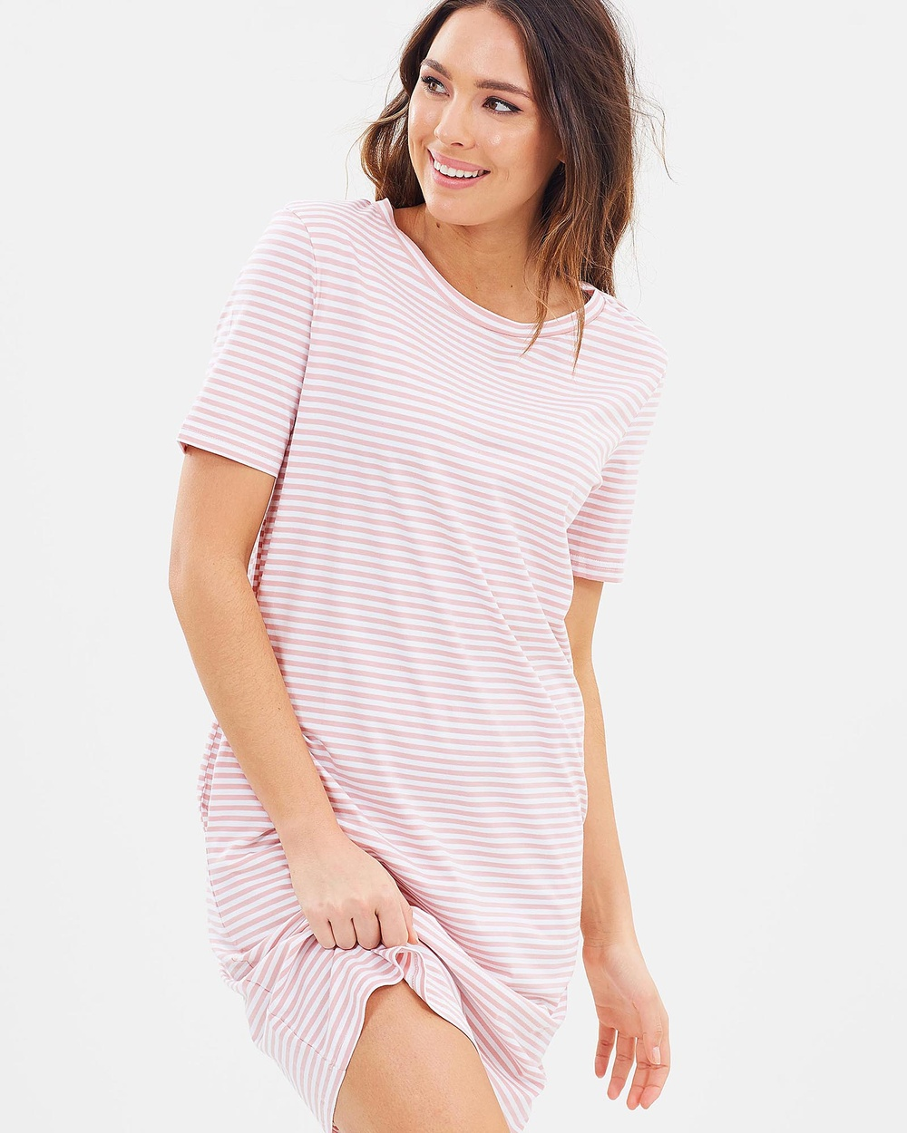 Lincoln St The Boxy Dress Dresses Smoke Pink Stripe The Boxy Dress