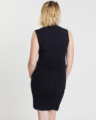 Angel Maternity Sleeveless Work Top & Ruched Skirt Outfit - Pencil skirts (Black)