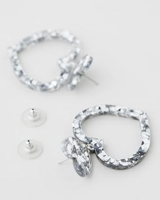 HAUS OF DIZZY Barbie Heart Earrings   Small - Jewellery (Chunky Silver Glitter)