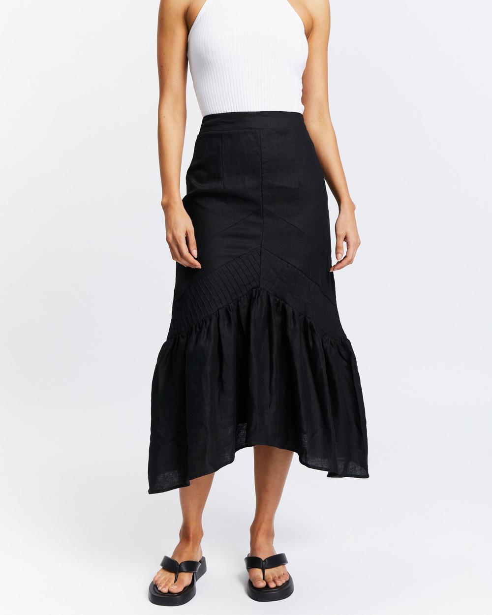 AERE Pleat Detail Midi Skirt Pleated skirts Black