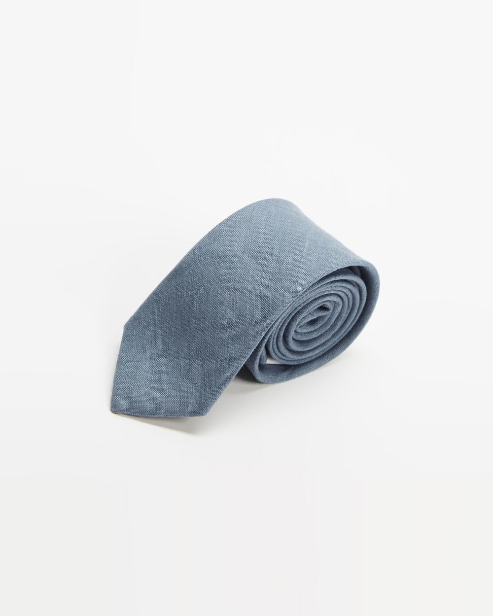 AERE Linen Tie Ties Dusty Blue
