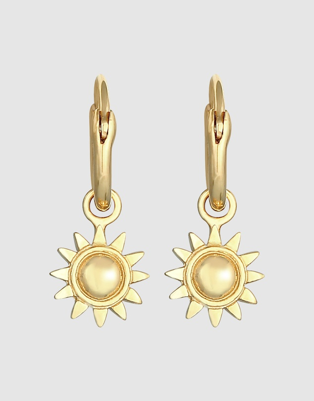 Women Earrings Creole Pendant Sun Bright in 925 Sterling Silver Gold Plated