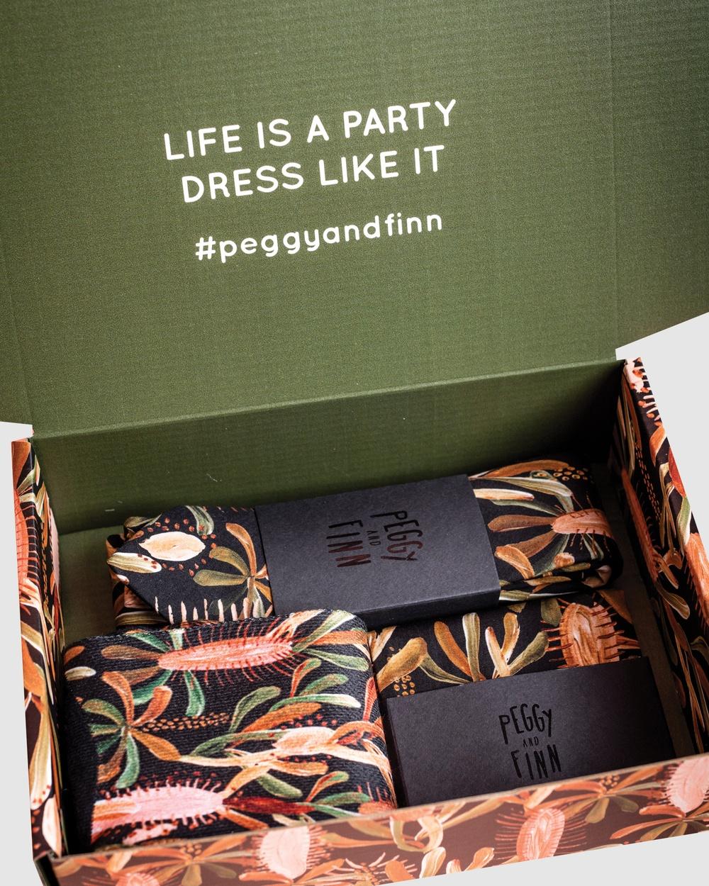 Peggy and Finn Grass Tree Gift Box Ties Black Ties Australia