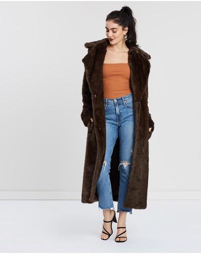 Unreal Fur The Long Mac Coat Chestnut Brown