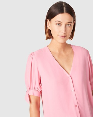 French Connection Tie Sleeve Shirt - Tops (FUSHIA)