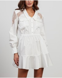 Self Portrait - Lace Panel Mini Shirt Dress