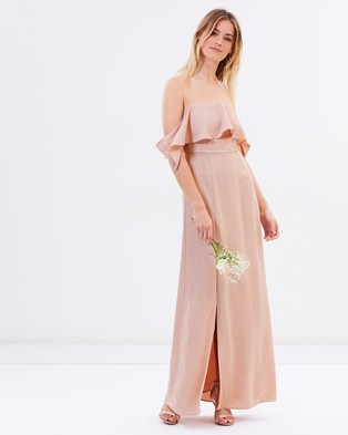 Buy Atmos & Here - Aurora Off Shoulder Maxi Dress - Bridesmaid Dresses Nude Pink -  shop Atmos & Here dresses online