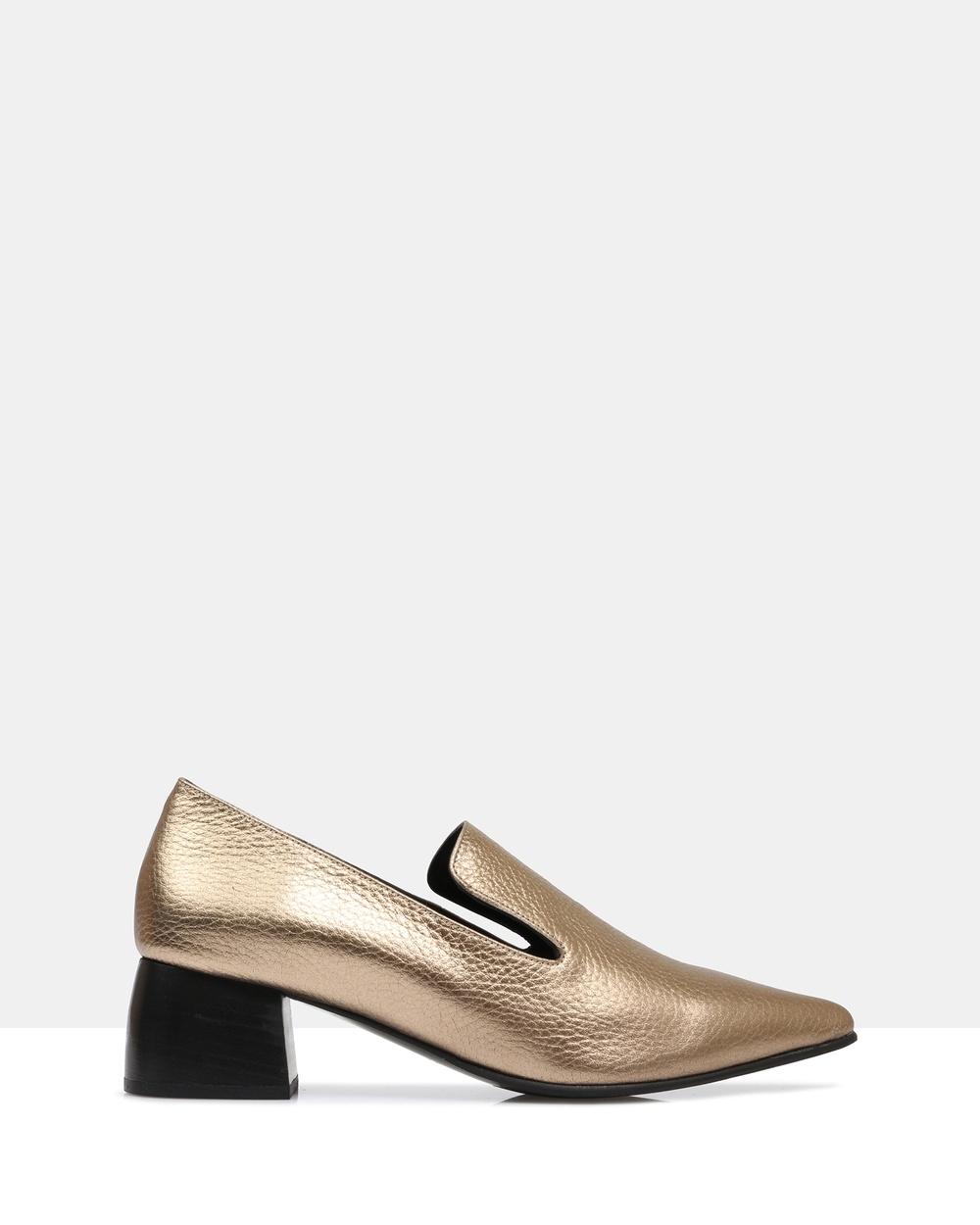 Sempre Di Petal Heeled Loafers Mid-low heels 992- 175 Copper Petal Heeled Loafers