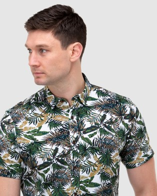 Brooksfield Leaf Print Short Sleeve Casual Shirt - Casual shirts (Forest)