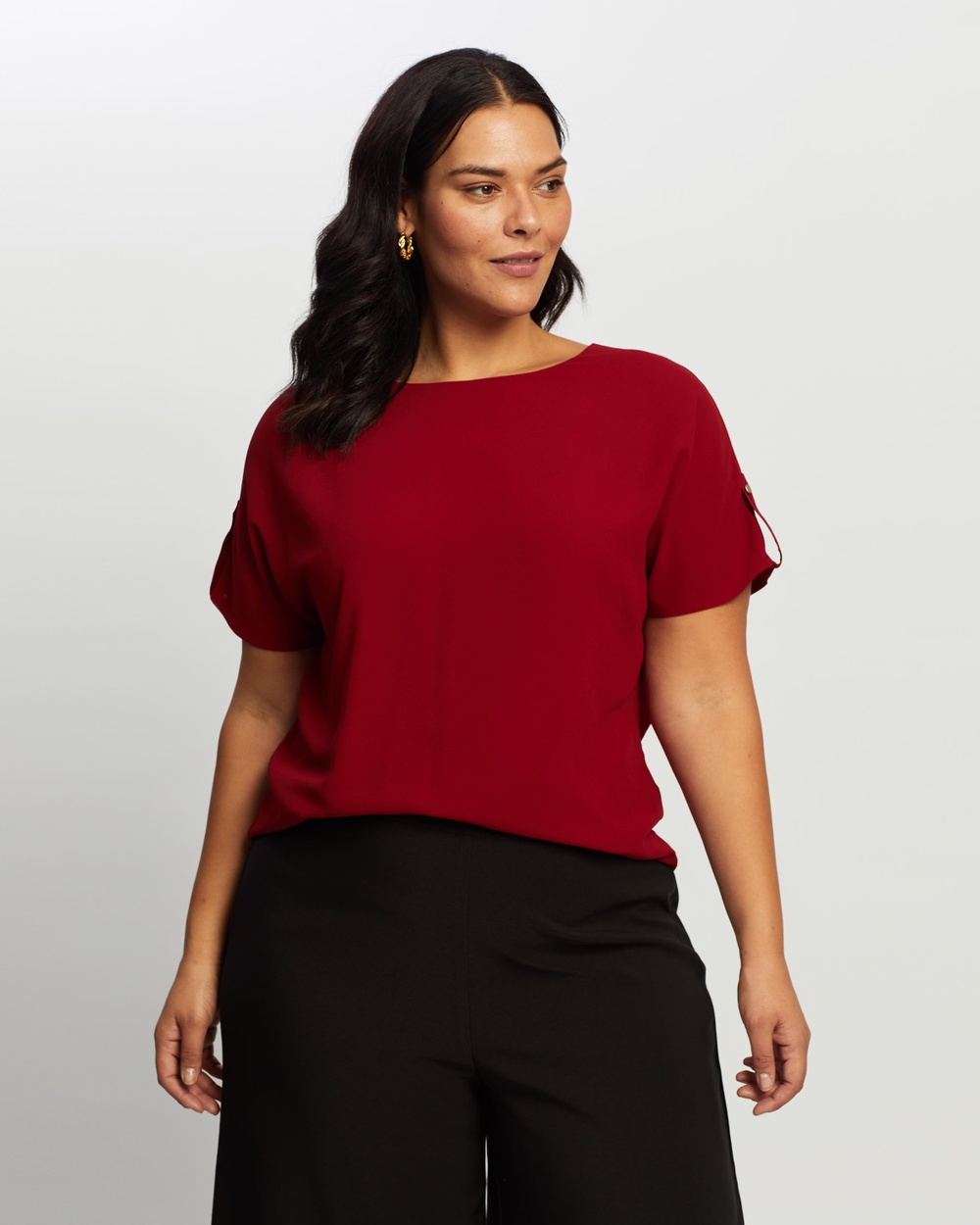 Atmos&Here Curvy - Bianca Button Tab Woven Tee - T-Shirts & Singlets (Berry) Bianca Button Tab Woven Tee