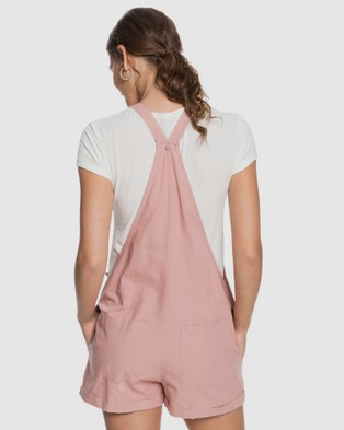 Roxy Womens Somebody New Linen Pinafore Playsuit - Jumpsuits & Playsuits (ASH ROSE)