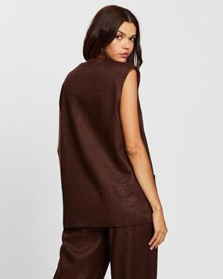 AERE Linen Relaxed Waistcoat - Coats & Jackets (Chocolate)