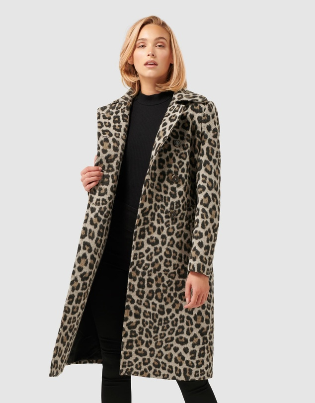 Forever New - Linda Leopard Wool Trench