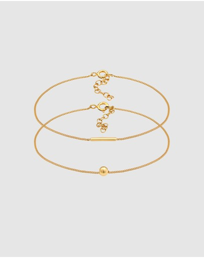 Elli Jewelry Bracelet Set Geo Basic In 925 Sterling Silver Gold Plated