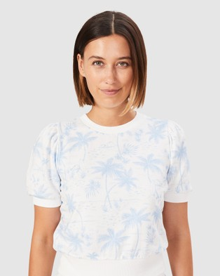 French Connection Tropical Puff Sleeve Sweat - T-Shirts & Singlets (INDIGO/SUMMER WHITE)