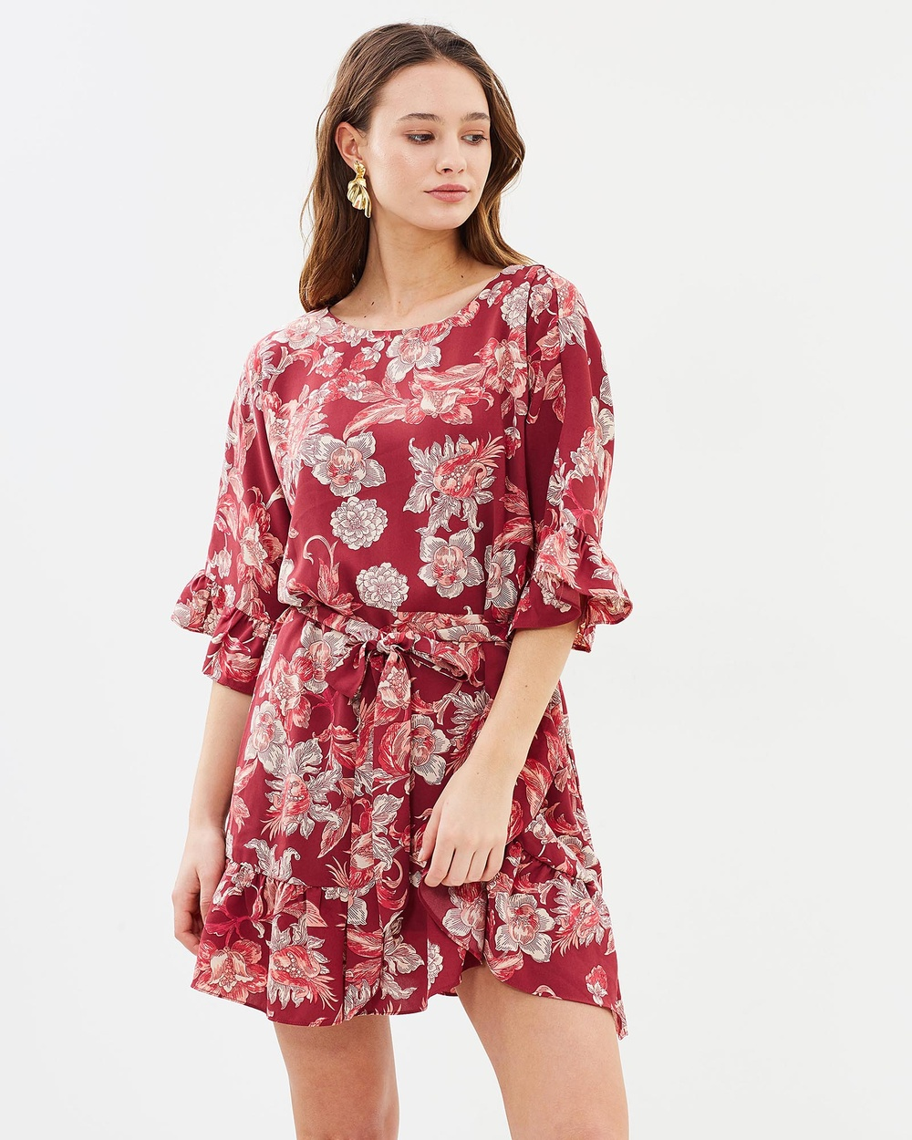 IMONNI Mia Floral Crepe Dress Printed Dresses Floral Mia Floral Crepe Dress
