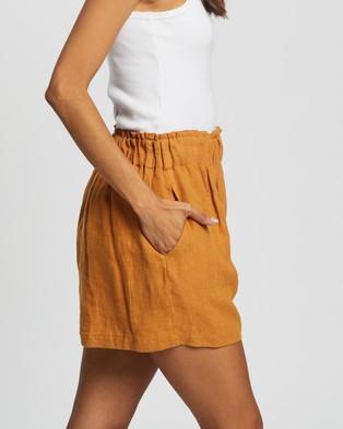 AERE Linen Lounge Shorts High-Waisted Tumeric