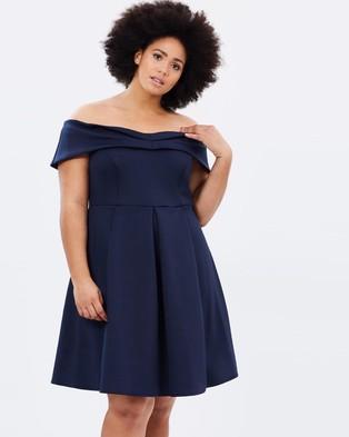DP Curve – Scuba Bardot Fit and Flare Dress – Dresses (Navy)