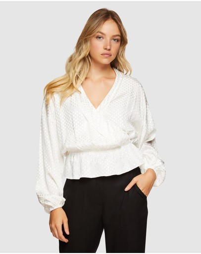 Oxford - Lana Spot Wrap Front Top
