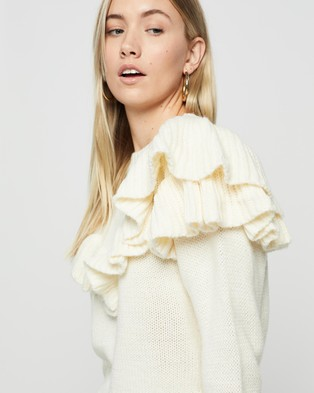 MINKPINK - Shelby Ruffle Knit - Jumpers & Cardigans (White) Shelby Ruffle Knit