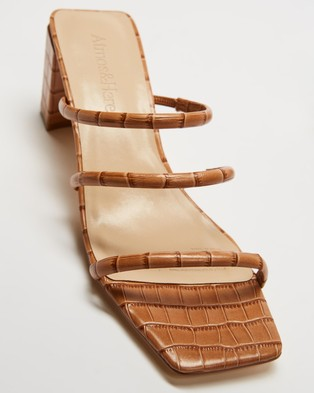 Atmos&Here Mia Leather Heels - Sandals (Mocha Croc Embossed Leather)