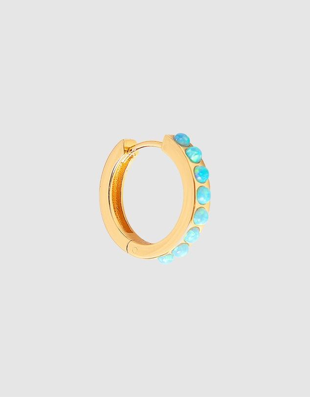Women Blue Opal Crystal Midi Hoops
