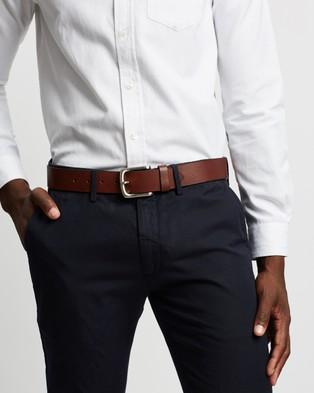Double Oak Mills Casual Grain Leather 38mm Belt - Belts (Cognac & Silver)