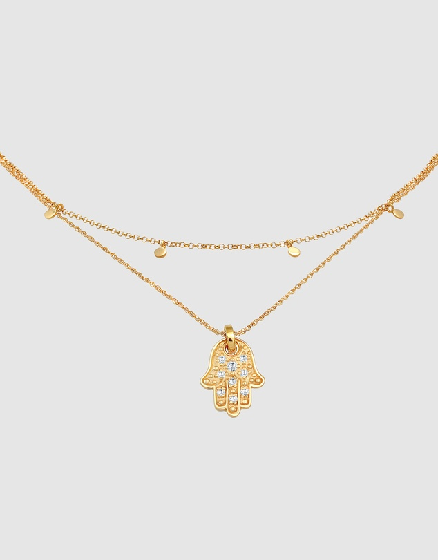 Women Necklace Choker Plate Hamsa Hand Pendant with Zirconia Crystals in 925 Sterling Silver Gold Plated