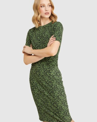 Oxford Penny Animal Print Jersey Dress - Printed Dresses (Green)