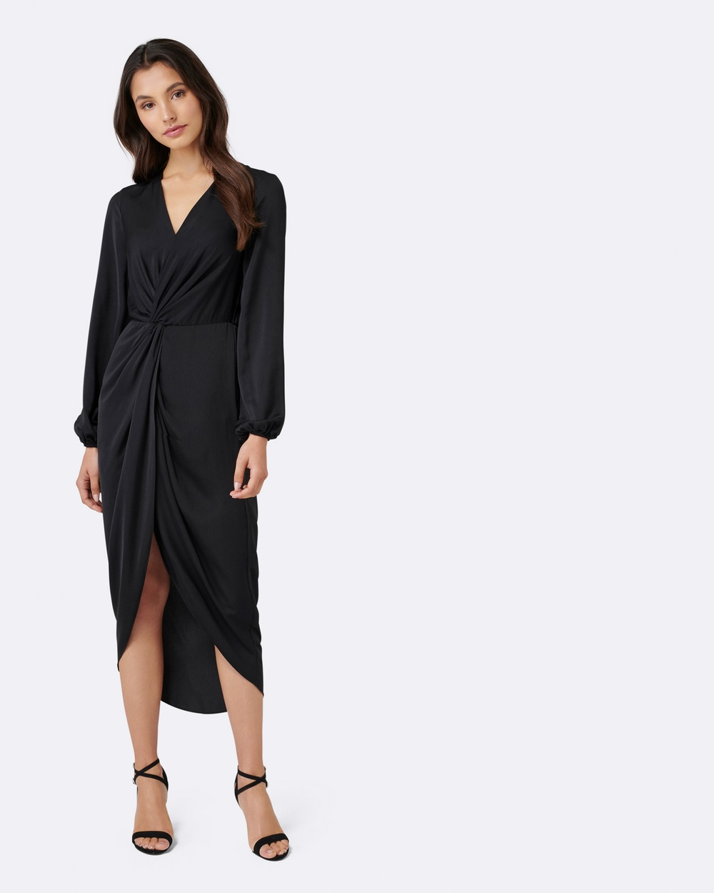 Forever New Petite Petite Serena Drape Long Sleeve Dress Dresses Black Petite Serena Drape Long-Sleeve Dress
