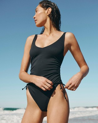 Cotton On Body Scoop Neck Side Tie Full One Piece - One-Piece / Swimsuit (Black Rib 21)