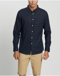 Staple Superior - Staple Organic LS Cotton Linen Blend Shirt