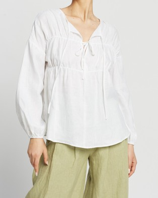 AERE - Tie Front Blouse Tops (White)