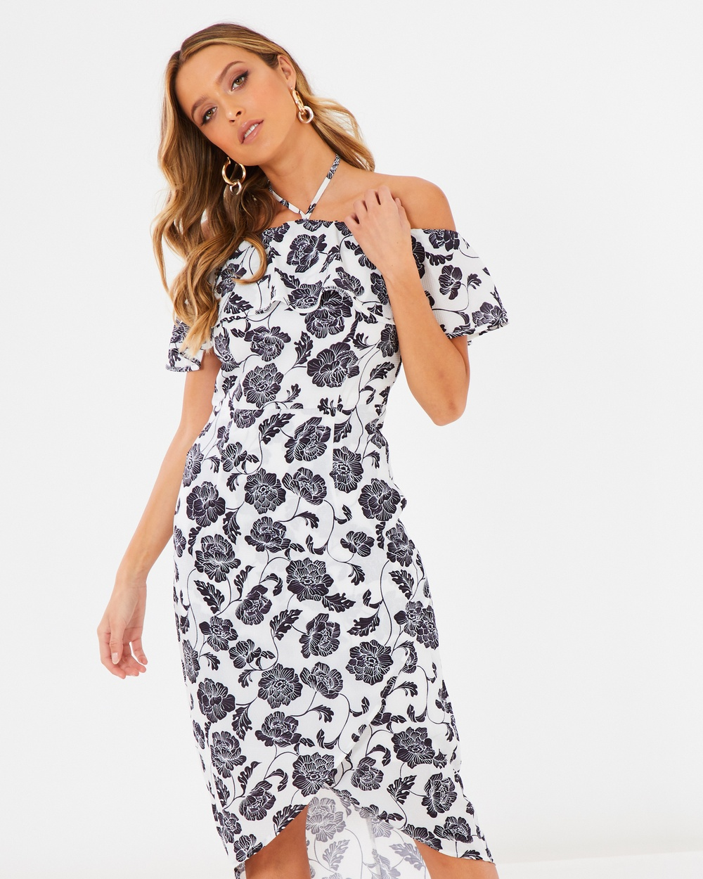 Calli Amara Halterneck Dress Dresses Black & White Amara Halterneck Dress