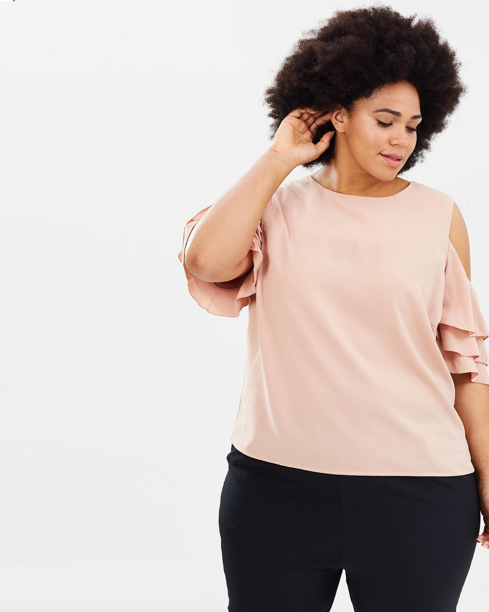 Atmos & Here Curvy ICONIC EXCLUSIVE Chelsie Ruffle Sleeve Top Tops Nude ICONIC EXCLUSIVE Chelsie Ruffle Sleeve Top