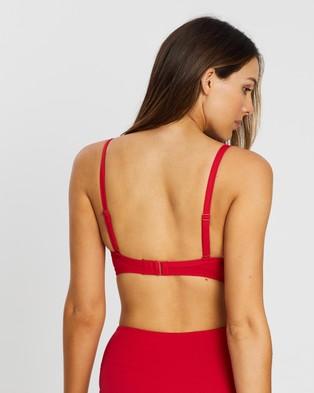Sea Level Australia Cross Front Moulded Underwire Bra - Bikini Tops (Red)